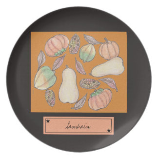 Squash Bounty Samhain October 31 Orange Plate