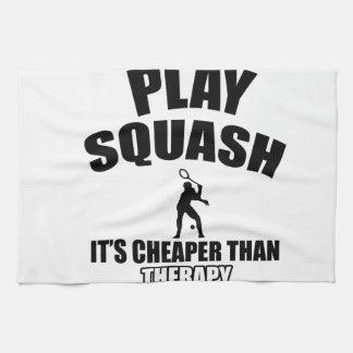 Squash player designs tea towel