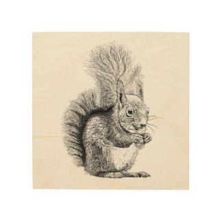 Squirrel Drawing Wood Print