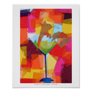 Squirrel in a Martini Glass Poster