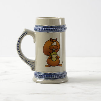 Squirrel with acorn beer stein