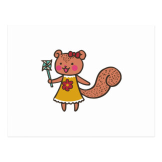 Squirrel With Pinwheel Postcard