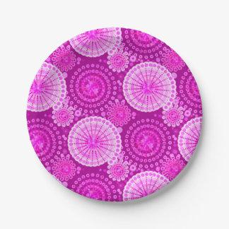 SStarbursts and pinwheels, amethyst purple Paper Plate