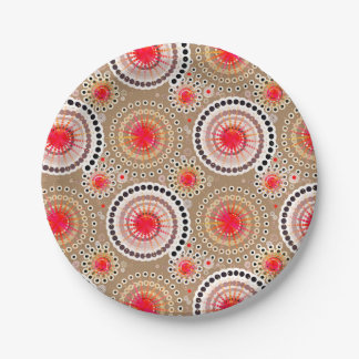 SStarbursts and pinwheels, taupe, red, white Paper Plate