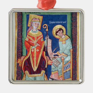 St. Amand returning a scroll to St. Baudemond Christmas Ornament