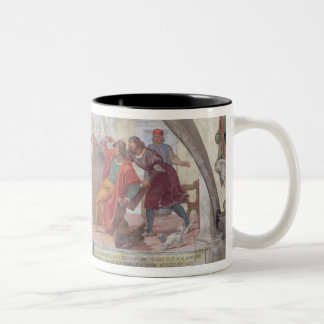 St. Anthony Driving Out the Gamblers (fresco) Two-Tone Coffee Mug