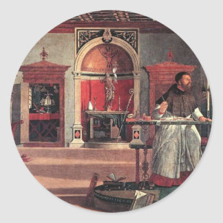 St. Augustine in His Study - Vittore Carpaccio Classic Round Sticker