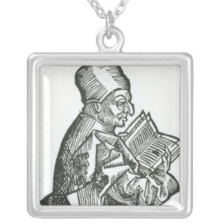 St. Bede  from 'Liber Chronicarum' Silver Plated Necklace