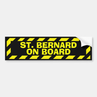 St. Bernard on board yellow caution sticker