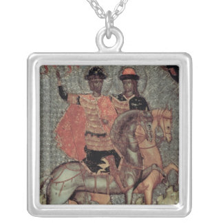 St. Boris and St. Gleb Mounted, c.1377 Silver Plated Necklace