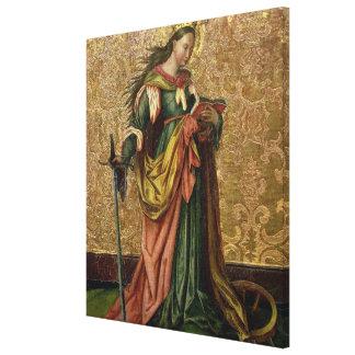 St. Catherine of Alexandria (oil on panel) 2 Canvas Print