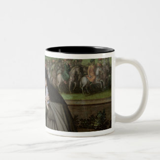 St. Claire with her Sister, Agnes and Nuns Two-Tone Coffee Mug