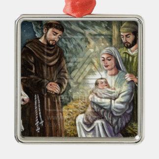 St Francis Nativity Scene, Christmas, Faith, Gift Christmas Ornament