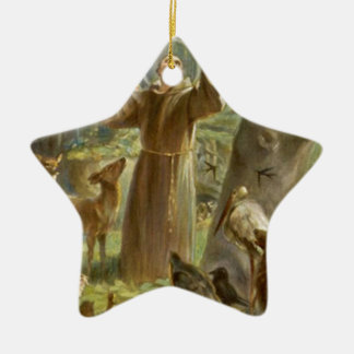 St. Francis of Assisi Preaching to the Animals Ceramic Star Decoration