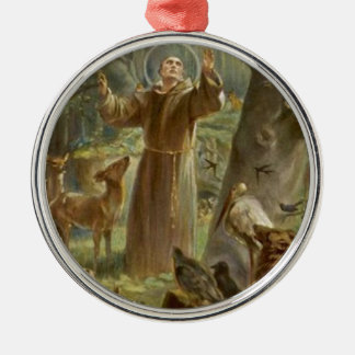 St. Francis of Assisi Surrounded by Animals Silver-Colored Round Decoration