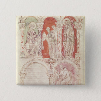 St. John Cassian writing and monks offering 15 Cm Square Badge