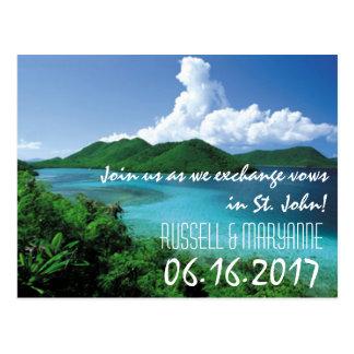 St. John Destination Beach Wedding Save the Date Postcard