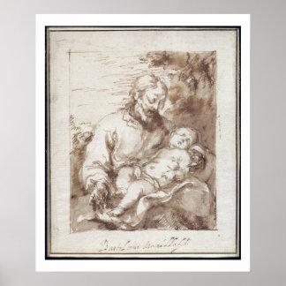 St. Joseph with the Sleeping Christ Child (pen & b Poster