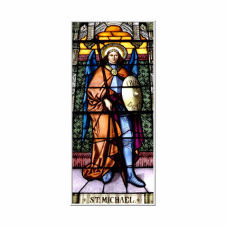 St. Michael The Archangel Stained Glass Window Standing Photo Sculpture