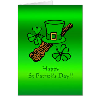 St Paddy's Day top hat, shamrock and shillelagh Card