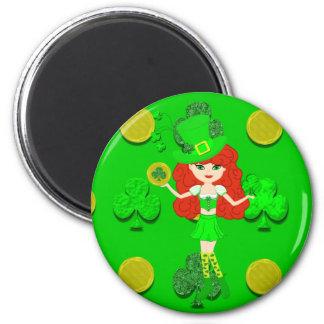 St Pat s Day Redhead Girl Leprechaun Refrigerator Magnet