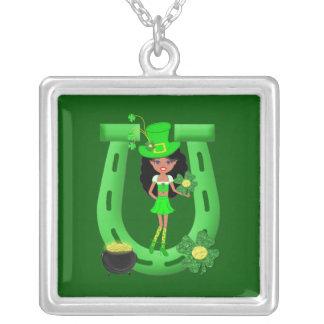 St Patrick's Day Brunette Girl Leprechaun Personalized Necklace