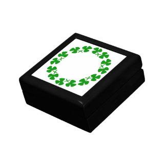 St. Patrick's Day Shamrock Ring Square Tile Box Keepsake Boxes