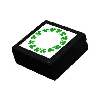 St. Patrick's Day Shamrock Ring Square Tile Box Small Square Gift Box