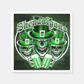 St. Patrick'd Day Leprechaun Skulls Disposable Serviettes