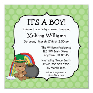 St. Patrick's Day Bear Rainbow Baby Shower Card