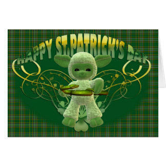 St. Patrick's Day Blessing card, green shamrock, c Greeting Card