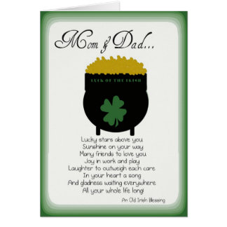St. Patrick's Day Cards for mom and dad