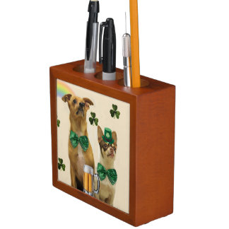 St. Patrick's Day Chihuahua dogs Desk Organiser
