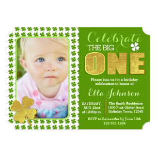 St. Patrick's Day First Birthday Party Photo 13 Cm X 18 Cm Invitation Card