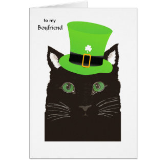 St. Patrick's Day for Boyfriend - Black Cat in Hat Greeting Card