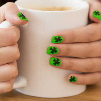 St. Patrick's Day Four Leaf Clover Minx Nail Art