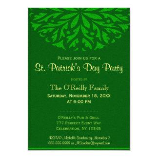 St Patrick's Day   Green Ornamental 13 Cm X 18 Cm Invitation Card
