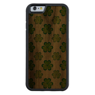 St. Patrick's Day Green Shamrocks Lucky Clovers Carved Walnut iPhone 6 Bumper Case
