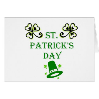 St. Patrick's Day Hat and clover (light) Card