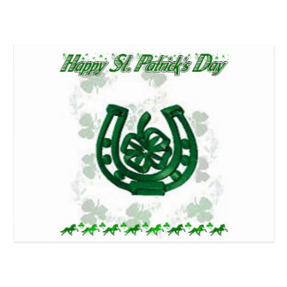 St Patrick's Day horseshoe Postcard