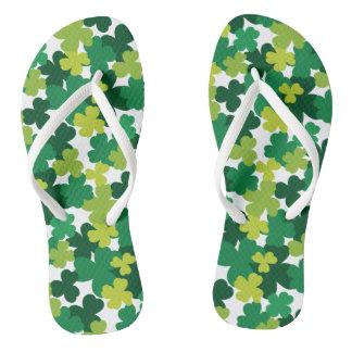 St. Patrick's Day Shamrock Pattern Thongs