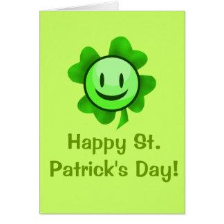 St. Patrick's Day Shamrock Smiley Card
