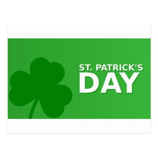 St Patrick's Day Shamrock White Border Postcard