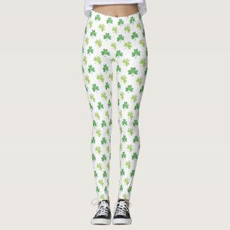 St. Patricks Day Watercolor Green Shamrock Pattern Leggings