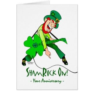 St. Patrick's Day Wedding Anniversary, ShamRock On Greeting Card