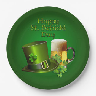 St. Patrick's - Top Hat, Beer & Shamrock's 9 Inch Paper Plate