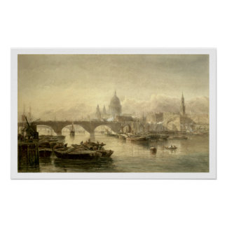 St. Paul's Cathedral and London Bridge from the Su Poster