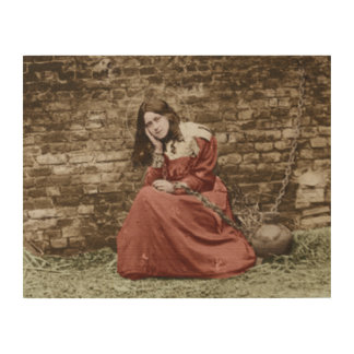 ST THERESE AS JOAN OF ARC.COLORIZED WOOD PRINT