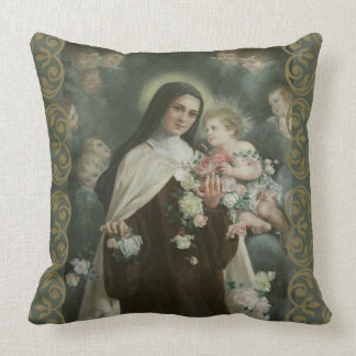 St. Therese Little Flower Angels Cherubs Roses Cushion