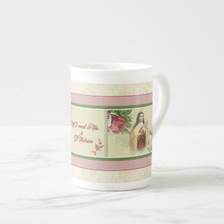 St. Therese Roses Crucifix Flowers Quote Tea Cup